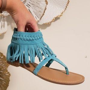 Minnetonka Shoes - AQUA BLUE MINNETONKA SUEDE FRINGE SANDALS